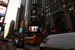 E.E. King Reading to mentor Ray Bradbury... in Times Square